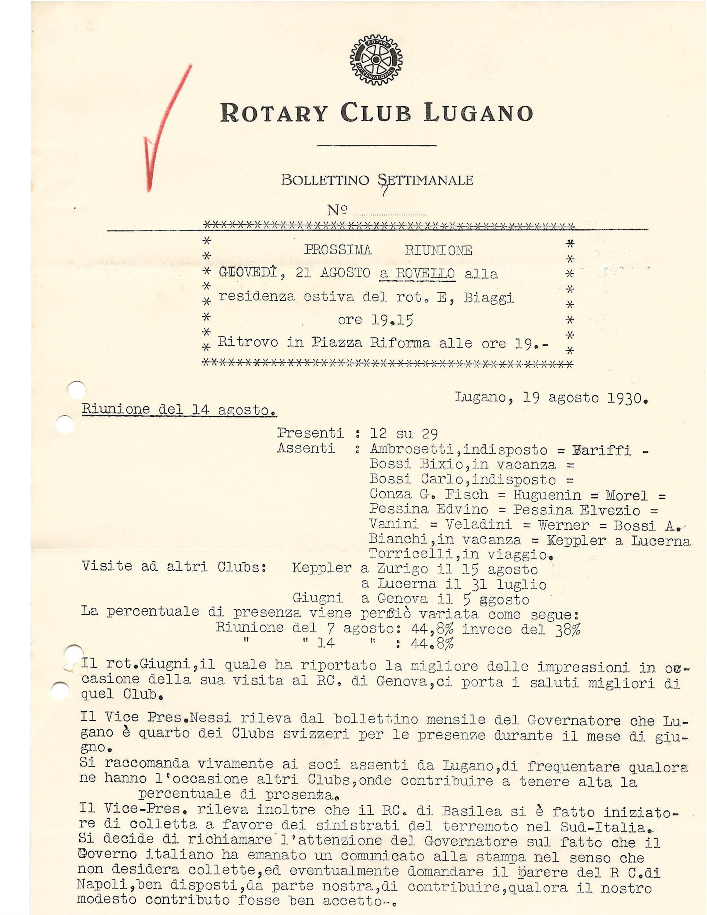 Beneficienza di 1000 CHF in auto del terremoto di Irpinia del 1930 (1/3) -  lanostraStoria.ch